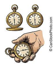 Antique pocket watch. Vector vintage engraved illustration.
