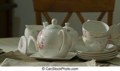 Antique Porcelain Tea Set - Old antique porcelain white tea...