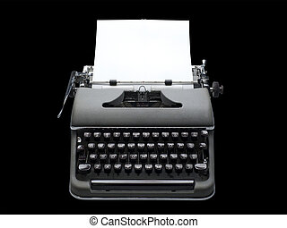 Antique portable typewriter - old fashioned, vintage ...