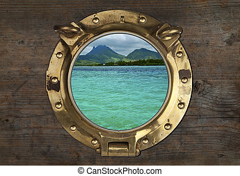 Antique Porthole with Tropical View on a wooden Wall...