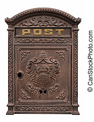 Antique postbox - An antique postbox isolated on white....