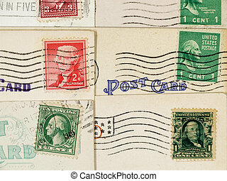 Antique postcards and cancelled stamps