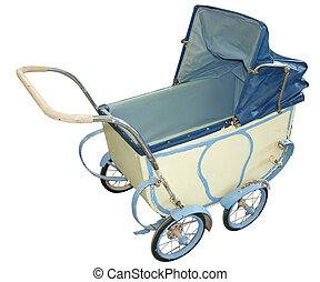 Antique Pram isolated with clipping path