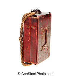 Antique red leather bound prayer and hymn books in a case with a cord handle isolated against white