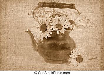 Antique Pretty - Daisy bouquet with antique teapot.