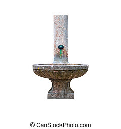 Antique public stone basin with cock water tap isolated on white background.