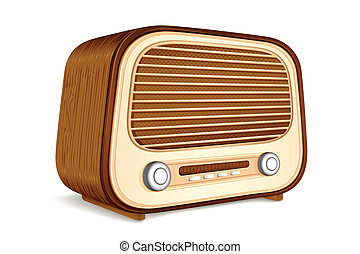 Antique Radio - illustration of vintage antique radio on...
