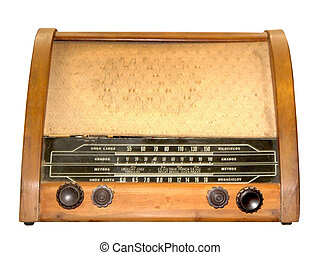 Antique radio - Antique wooden radio isolated on white,...