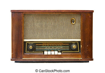 Vintage old radio transistor. Isolated over white background.