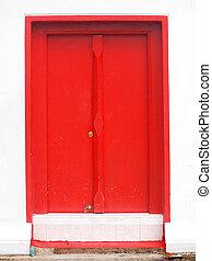 Antique red door in thai temple