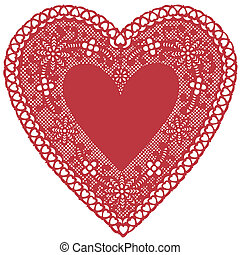 Antique Red Lace Doily Heart - Vintage heart shaped red lace...