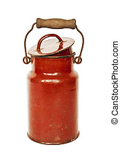 Antique red milk can