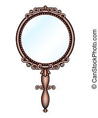 Antique retro hand mirror isolated on white background. Vector illustration
