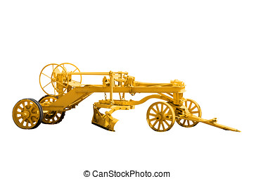 Antique Road Grader - Antique road grader isolated on a...