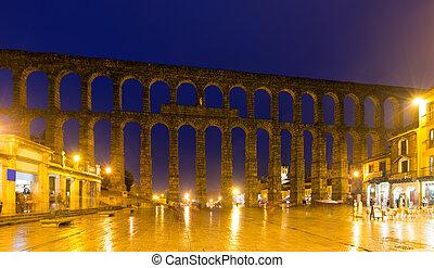 Antique roman aqueduct in Segovia
