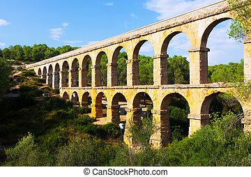 Antique roman aqueduct in Tarragona