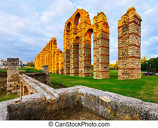antique roman aqueduct. Merida, Spain