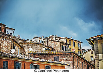 antique roofs in Siena