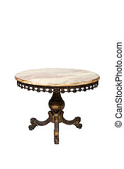 Antique round mable table on white background