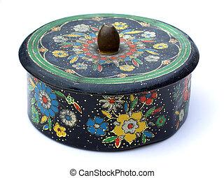 Antique round metal box