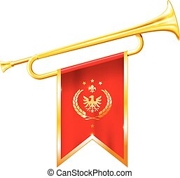 Antique royal horn - trumpet with triumphant flag, triumph ...