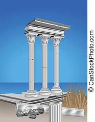 Illustration of antique temple ruins and mediterranean sea