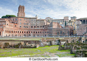 antique ruins of roman forum on Capitoline Hill in Rome, ...