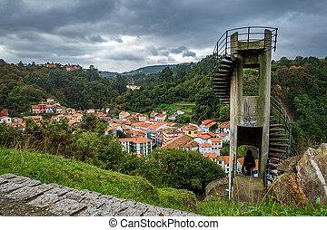 Antique run-down abandoned vigilance tower, Cudillero...