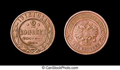 Antique russian coin of 2 kopec