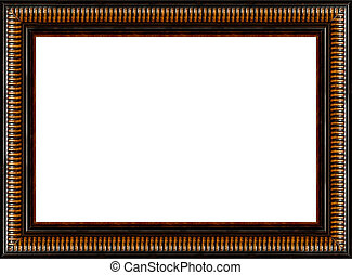 Antique rustic black wooden picture frame isolated
