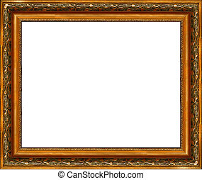 Antique rustic dark golden picture frame isolated - Antique...