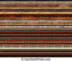 Antique wooden decorative grungy decorative elements with golden patterns photo frame borders