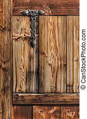 Antique Rustic Pine Wood Door With Wrought Iron Hinge