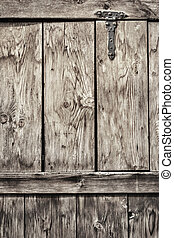 Antique Rustic Pine Wood Door With Wrought Iron Hinge - Detail