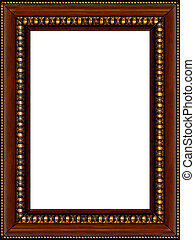 Antique rustic wooden picture frame isolated - Antique...