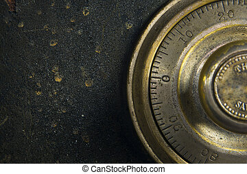 Antique Safe - Close-up of a combination dial on an antique...