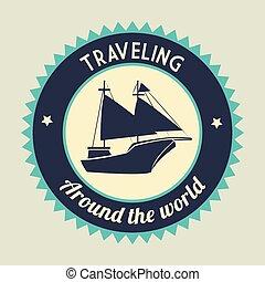 Antique sail boat graphic