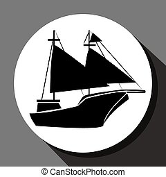 Antique sail boat graphic design, vector illustration eps10