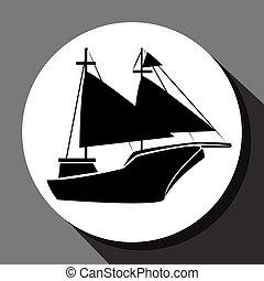 Antique sail boat graphic design, vector illustration eps10