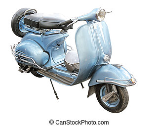 Antique blue scooter from 1960 isolated on white background