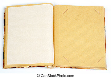 Antique scrapbook for one image per page, on white...