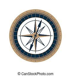 Antique sea compass vector icon. Wind rose.