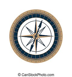 Antique sea compass vector icon. Wind rose.
