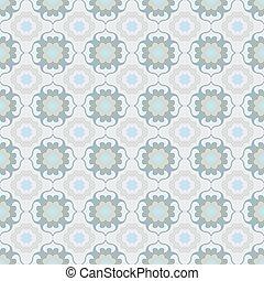 Antique seamless background image of elegant blue green curve cross kaleidoscope
