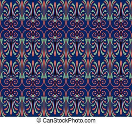 Antique seamless background image of spiral curve cross flower leaf