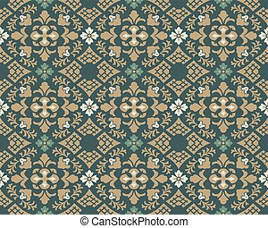 Antique seamless background image of vintage curve cross flower leaf check geometry