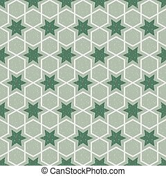 Antique seamless background image of vintage green polygon cross star