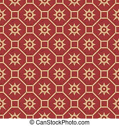 Antique seamless background image of vintage polygon square cross flower