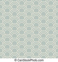 Antique seamless background oriental fish scale round curve line