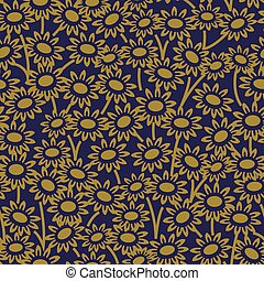 Antique seamless gold background garden daisy flower